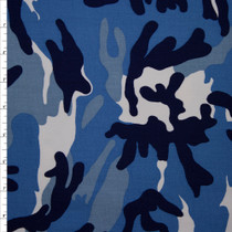 Blue and White Camouflage Stretch Twill Fabric By The Yard