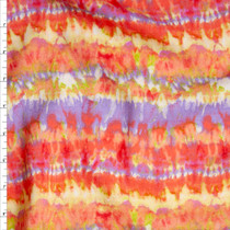 'Summer Vibes' Tie Dye Stripe Rayon Challis Fabric By The Yard