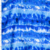'Underwater' Tie Dye Stripe Rayon Challis Fabric By The Yard