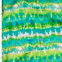 'Azure' Tie Dye Stripe Rayon Challis Fabric By The Yard