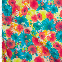 Turquoise, Yellow, Hot Pink, and White Floral Rayon Gauze Fabric By The Yard