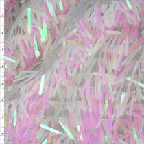 White Iridescent Fringe Sequin Fabric Fabric By The Yard