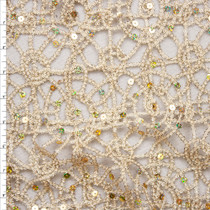 Gold Metallic Geometric Lace with Holographic Gold Sequin Fabric Fabric By The Yard