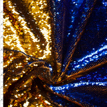 Metallic Blue and Gold Reversible Sequin Fabric Fabric By The Yard