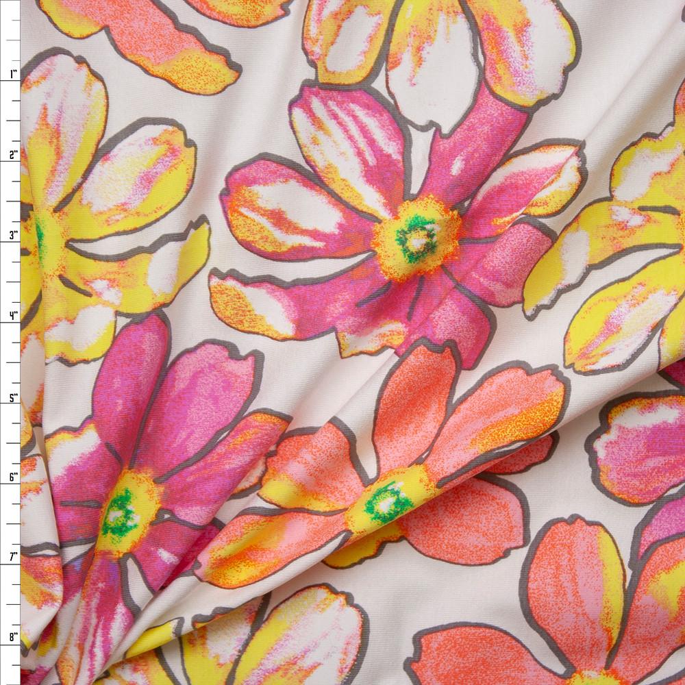 Cali Fabrics Pink Orange And Yellow Flowers On White Stretch