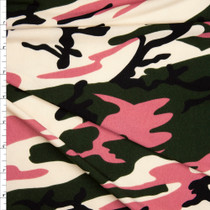 Pink and Dark Olive Camouflage Stretch Poly Jersey Knit Fabric By The Yard