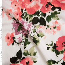 Pink, Sage, Lavender Floral on White Liverpool Knit Fabric By The Yard