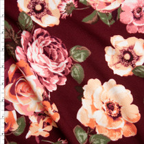 Pink, Orange, and Green Floral on Burgundy Liverpool Knit Fabric By The Yard