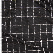 White on Black Grunge Grid Liverpool Knit Fabric By The Yard