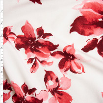 Pink and Magenta Flowers on White Liverpool Knit Fabric By The Yard
