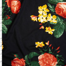 Pink, Yellow, and Green Rose Floral on Black Double Brushed Poly Spandex Knit Fabric By The Yard
