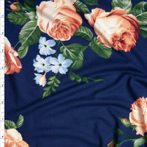 Peach, Light Blue, and Green Rose Floral on Navy Blue Double Brushed Poly Spandex Knit Fabric By The Yard