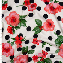 Pink and Green Floral on Offwhite and Black Polka Dots Double Brushed Poly Spandex Knit Fabric By The Yard