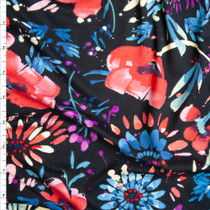 Dark Navy, Blue, and Pink Firework Floral Double Brushed Poly Spandex Knit Fabric By The Yard