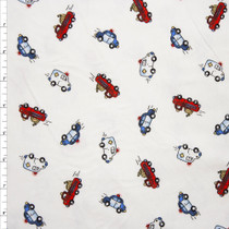 Fire Trucks, Police Cars, and Ambulances on White Stretch Cotton Jersey Knit Fabric By The Yard