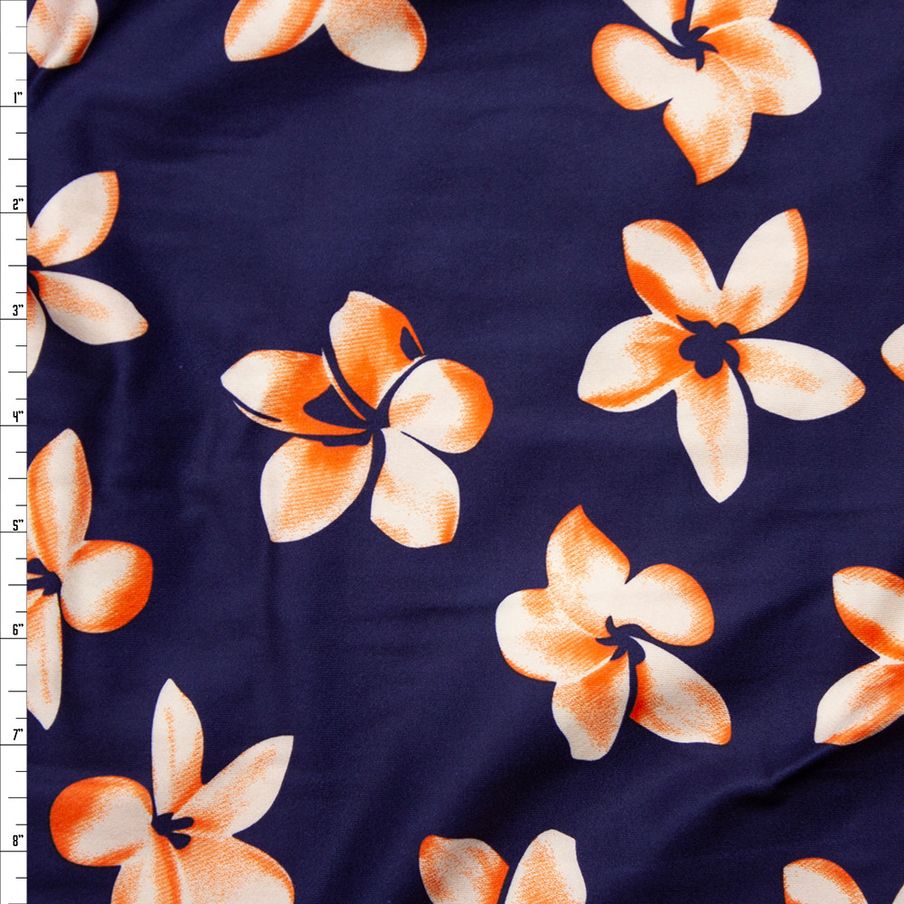Cali Fabrics Orange And White Flowers On Navy Blue Double Brushed