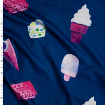 Ice Cream and Cookies on Navy Blue Double Brushed Poly Spandex Fabric By The Yard