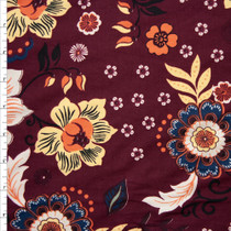Retro Floral on Wine Double Brushed Poly Spandex Fabric By The Yard