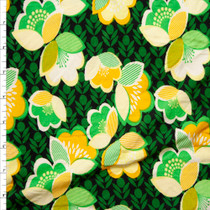 Green, Yellow, and Black Floral Double Brushed Poly Spandex Fabric By The Yard