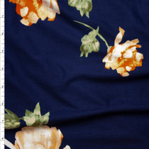 Orange Floral on Navy Double Brushed Poly Spandex Fabric By The Yard