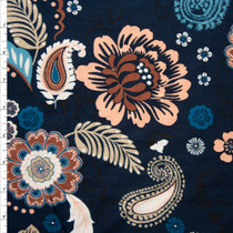 Retro Floral on Navy Double Brushed Poly Spandex Fabric By The Yard