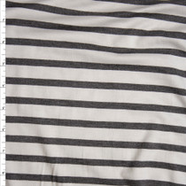 Charcoal and White Pencil Stripe Stretch Modal Jersey Knit Fabric By The Yard