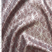 Metallic Silver Floral Lace Look on Burgundy Scuba Knit Fabric By The Yard