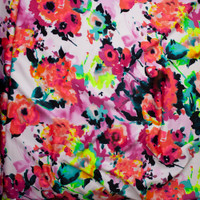 Vibrant Floral on White Scuba Knit Fabric By The Yard - Wide shot