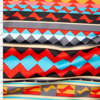 Red and Turquoise Tribal Stripe Scuba Knit Fabric By The Yard