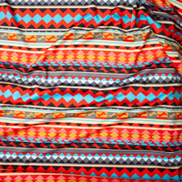 Red and Turquoise Tribal Stripe Scuba Knit Fabric By The Yard - Wide shot