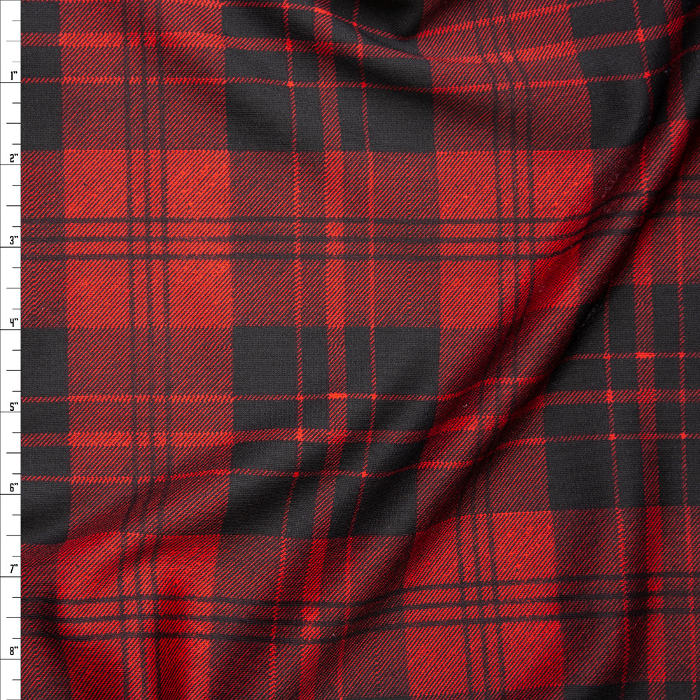 Red and Black Plaid Scuba Knit Fabric By The Yard