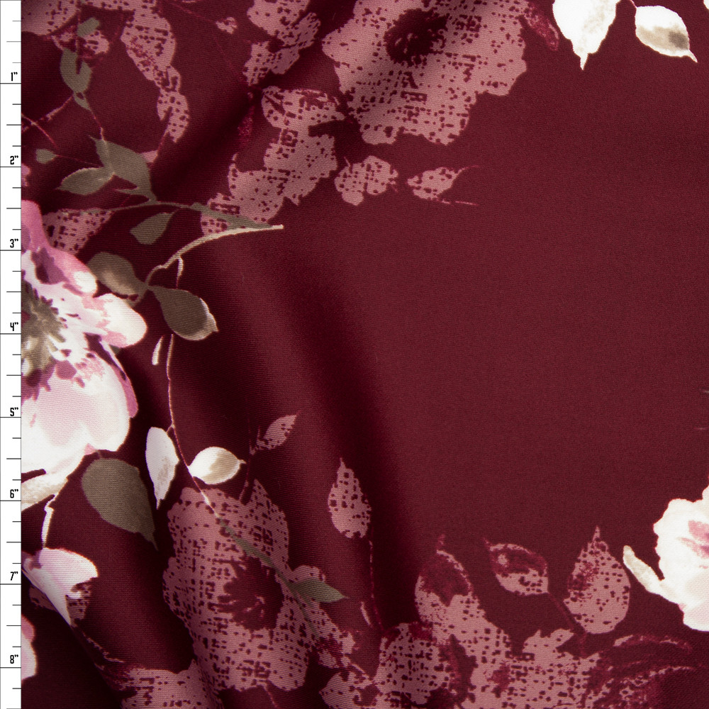 Pink and Tan Floral on Burgundy Scuba Knit Fabric By The Yard