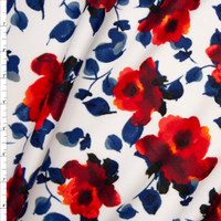 Red and Blue Leaves and Flowers on White Scuba Knit Fabric By The Yard