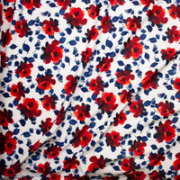 Red and Blue Leaves and Flowers on White Scuba Knit Fabric By The Yard - Wide shot