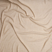 Oatmeal Brushed Soft Waffle Knit Fabric By The Yard - Wide shot