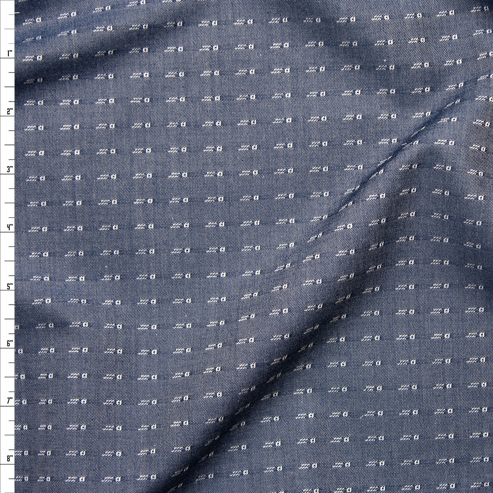 White on Indigo Woven Squares and Dashes Tencel Chambray Fabric By The Yard