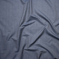 White on Indigo Woven Squares and Dashes Tencel Chambray Fabric By The Yard - Wide shot
