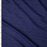 Navy Floral Pattern Stretch Lace Fabric By The Yard
