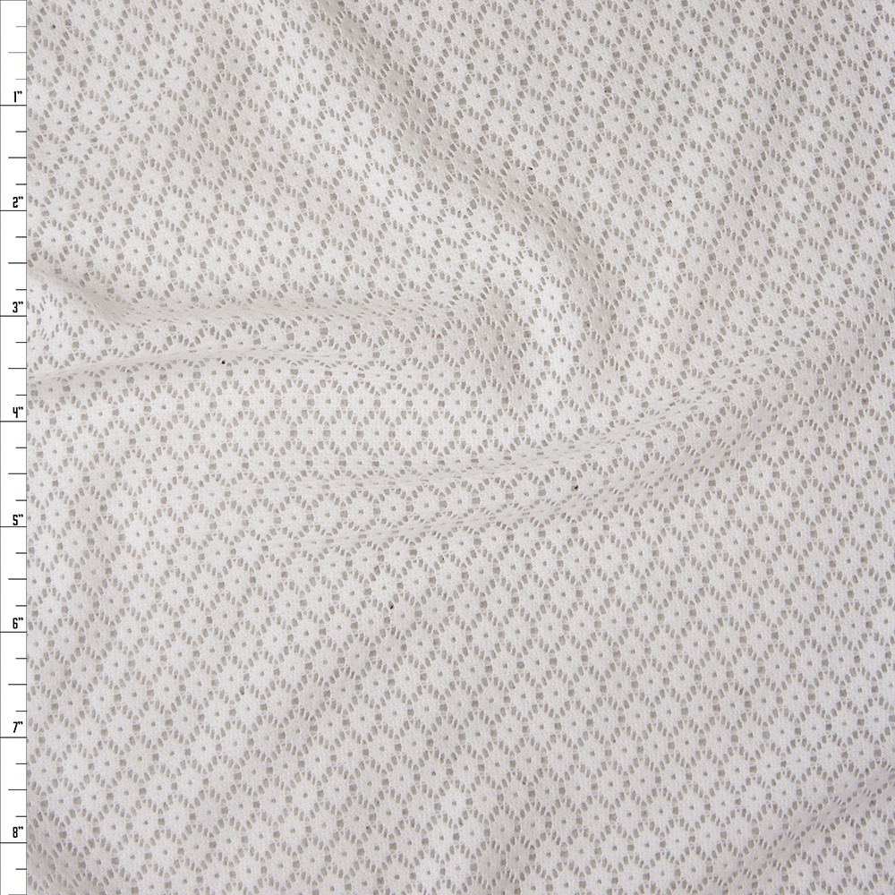 White Floral Pattern Stretch Lace Fabric By The Yard