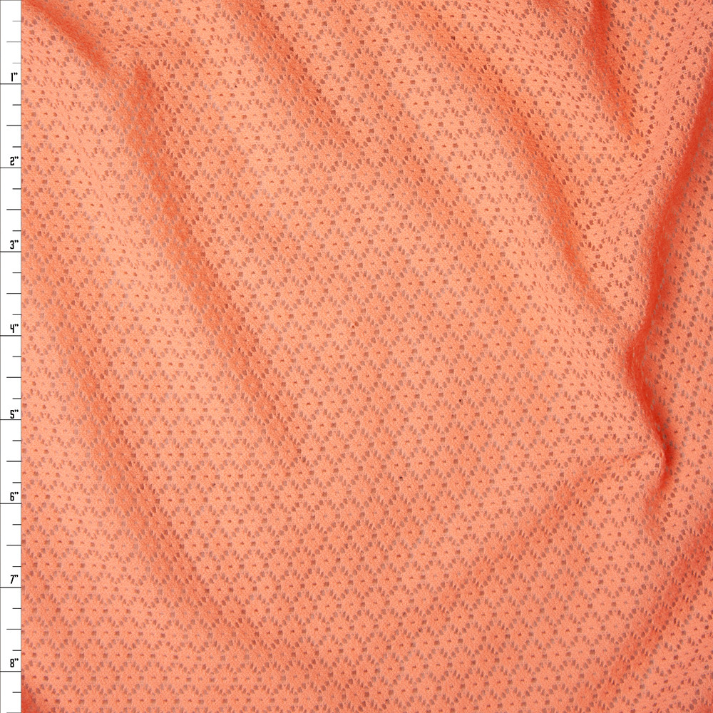 Orange Floral Pattern Stretch Lace Fabric By The Yard