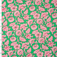 Pink Vines and Flowers on Bright Green Cotton Twill Fabric By The Yard