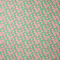Pink Vines and Flowers on Bright Green Cotton Twill Fabric By The Yard - Wide shot