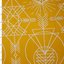 White Geometric Line Art on Mustard Cotton Twill Fabric By The Yard