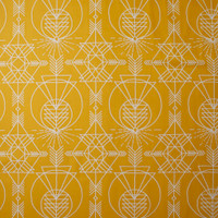 White Geometric Line Art on Mustard Cotton Twill Fabric By The Yard - Wide shot