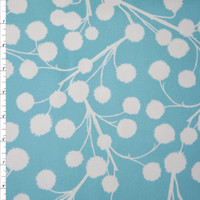 White Cotton Plant Silhouette on Dusty Blue Cotton Twill Fabric By The Yard