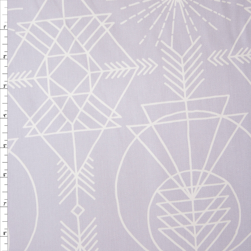 White Geometric Line Art on Pale Dusty Lilac Cotton Twill Fabric By The Yard