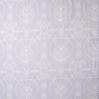 White Geometric Line Art on Pale Dusty Lilac Cotton Twill Fabric By The Yard - Wide shot