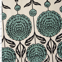 Black and Aqua Dandelion Floral on Ivory Cotton Twill Fabric By The Yard