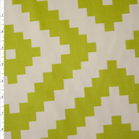 Lime and Ivory Diamond Pattern Cotton Twill Fabric By The Yard