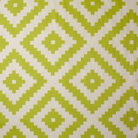 Lime and Ivory Diamond Pattern Cotton Twill Fabric By The Yard - Wide shot
